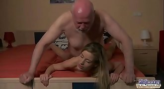 Young Secretary evaluation old man boss fucks beautiful horny young chick