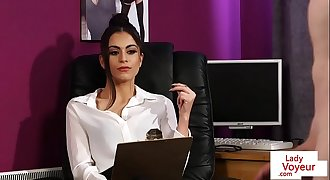 Femdom stunner humiliates her sub in the office