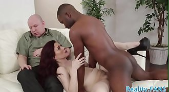 Cuckolding stunner banged by black cock