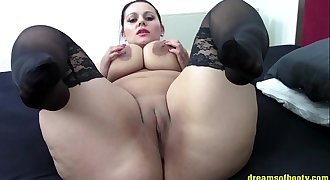 German BBW Samantha taunting in Black stockings ...