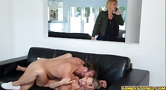 Step dad pounding Emma Hix shaven pussy so deep