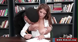 Big tits schoolgirl sucking and fucking shaft at school 04