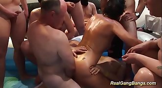 chubby oiled Milf ready for gangbang