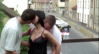 Extreme hookup flick a little chick fuck by 2 big guys in public at a train bridge