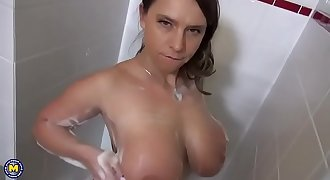 Huge milf tits and sexy curves get soapy in the shower - MILF Porn